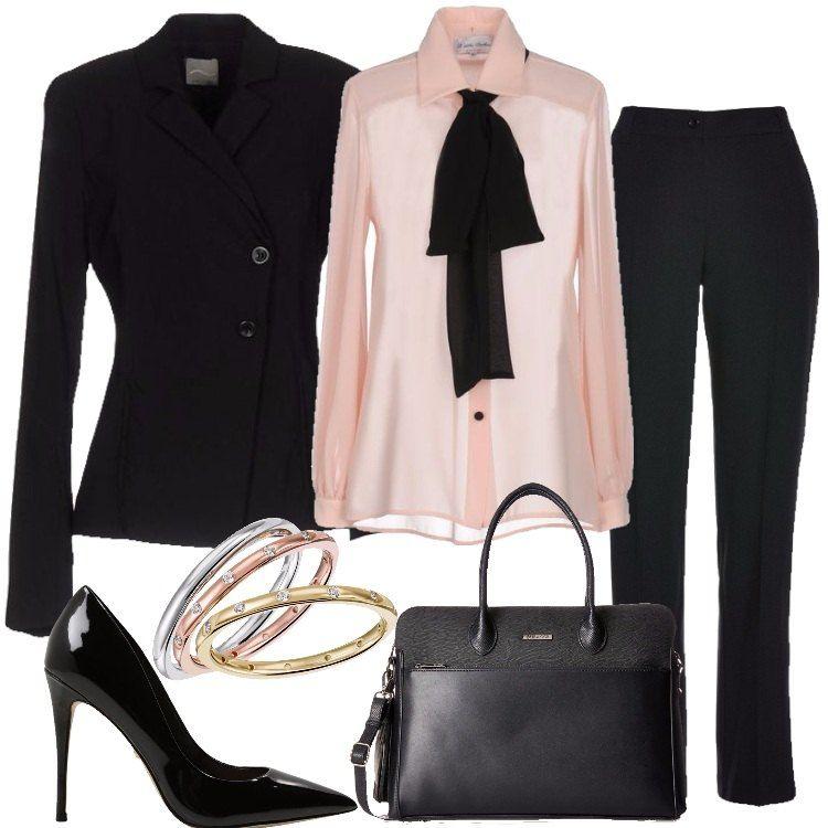 Outift di ispirazione mannish per il quale ho scelto un tailleur pantalone  nel classico nero  cec971d0fea