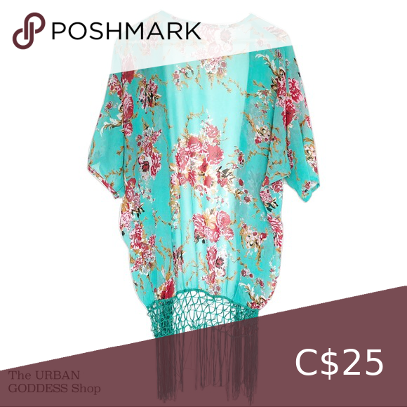 Teal Floral Kimono Fringe Bottom One Size in 2020 Floral