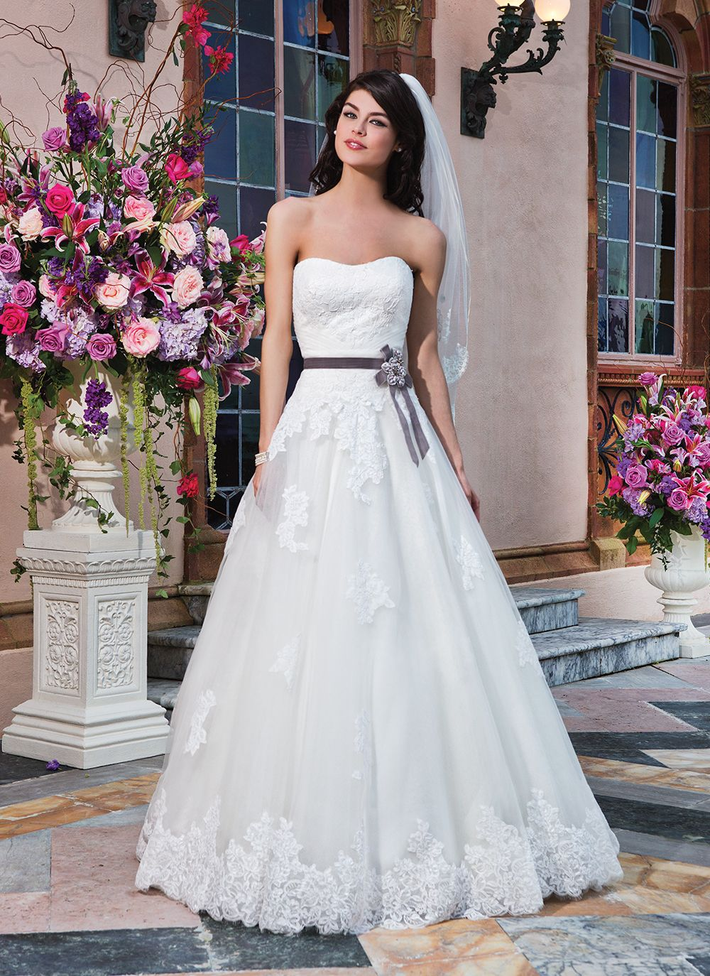 Sincerity wedding dress style 3832   Tulle, alencon lace ball gown complemented with a strapless neckline