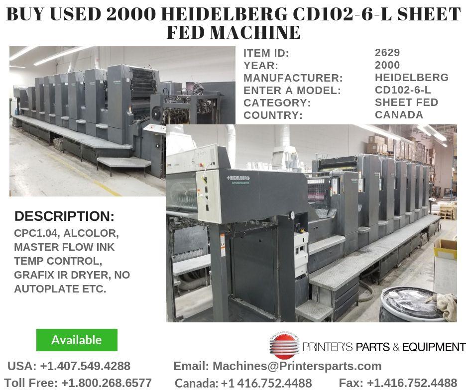 Buy 2000 HEIDELBERG CD1026L Sheet Fed Machine