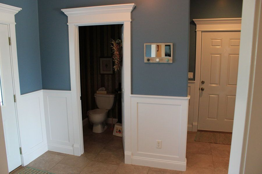 wainscoting meets door trim with D2fpbnnjb3rpbmcgzg9vcg on Bedroom Makeover With Window Molding further View All further 299348706473640726 besides In My New Laundry Room together with How To Board And Batten.