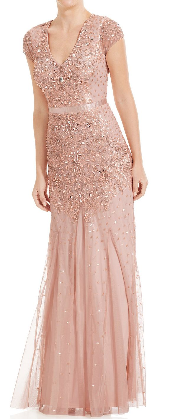 Blush beaded gown | #sponsored | Wedding | Pinterest | Gowns, Beads ...