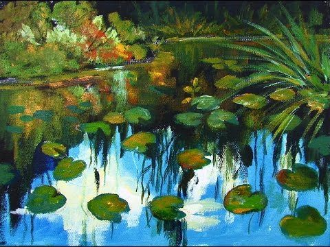 How to paint Monet Style Water Lilies in acrylic paint by Ginger Cook a step by step tutorial - YouTube