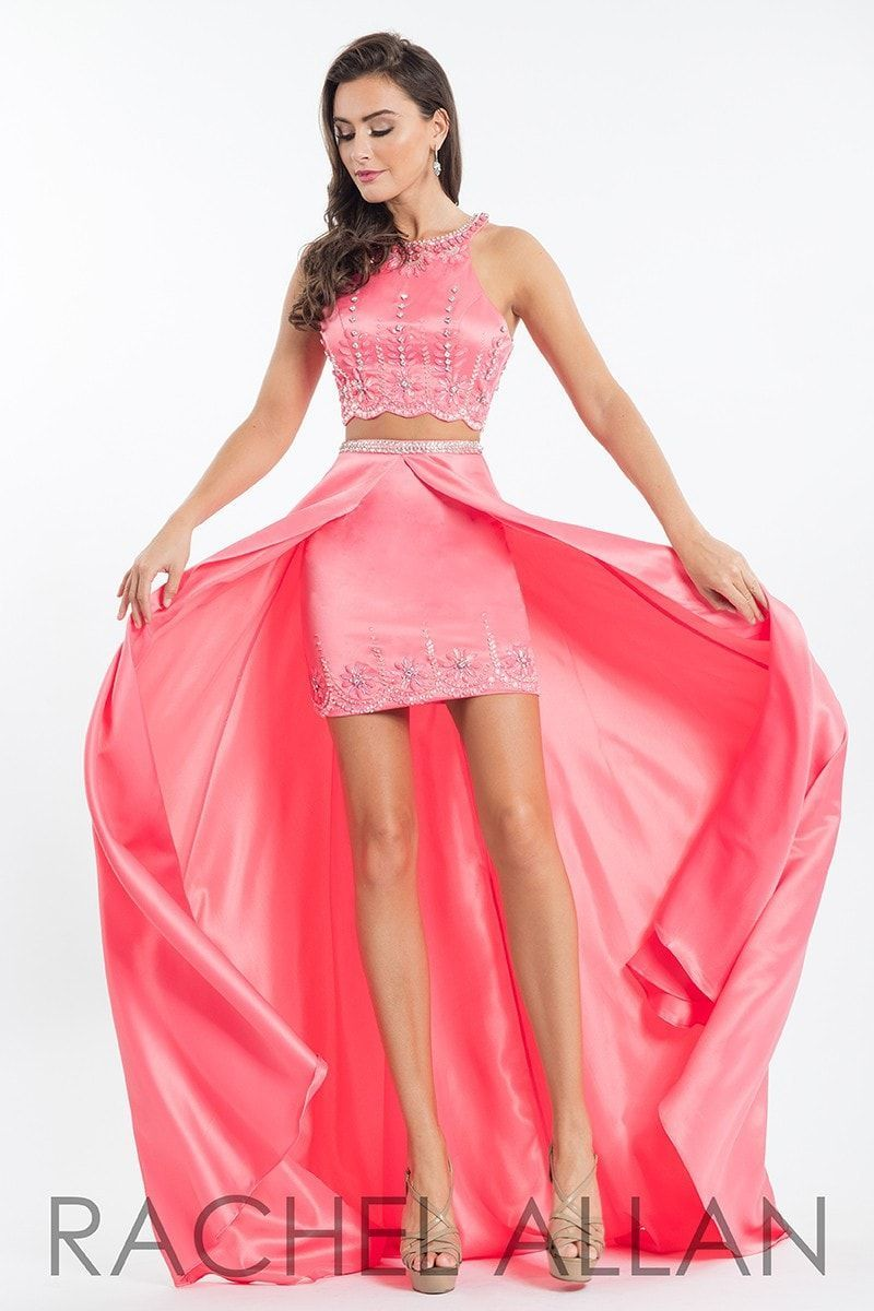 Rachel allan coral high low prom dress pageant attire