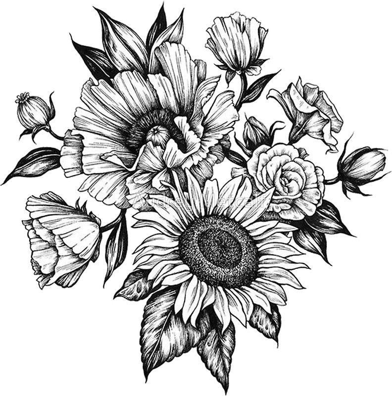 Pegatina 'flores en tinta' de Audrey Metcalf