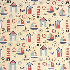 Nautical Boats & Beach Huts 100% Cotton Fabric: Lighthouse Red Blue Seaside