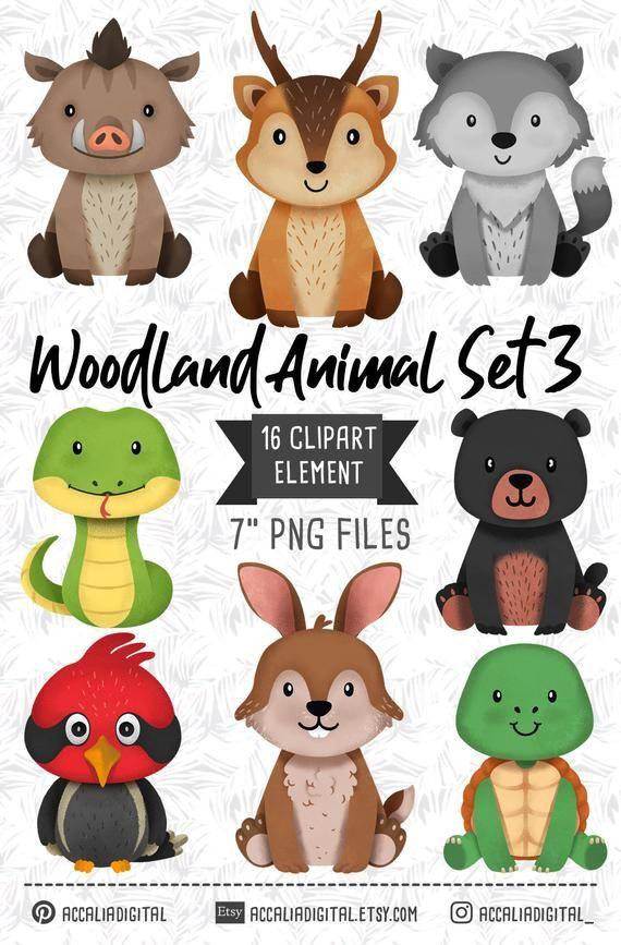 Woodland Animals Clipart Wolf Bear Forest Friends Sticker Etsy In 2021 Animal Clipart Woodland Animals Clip Art