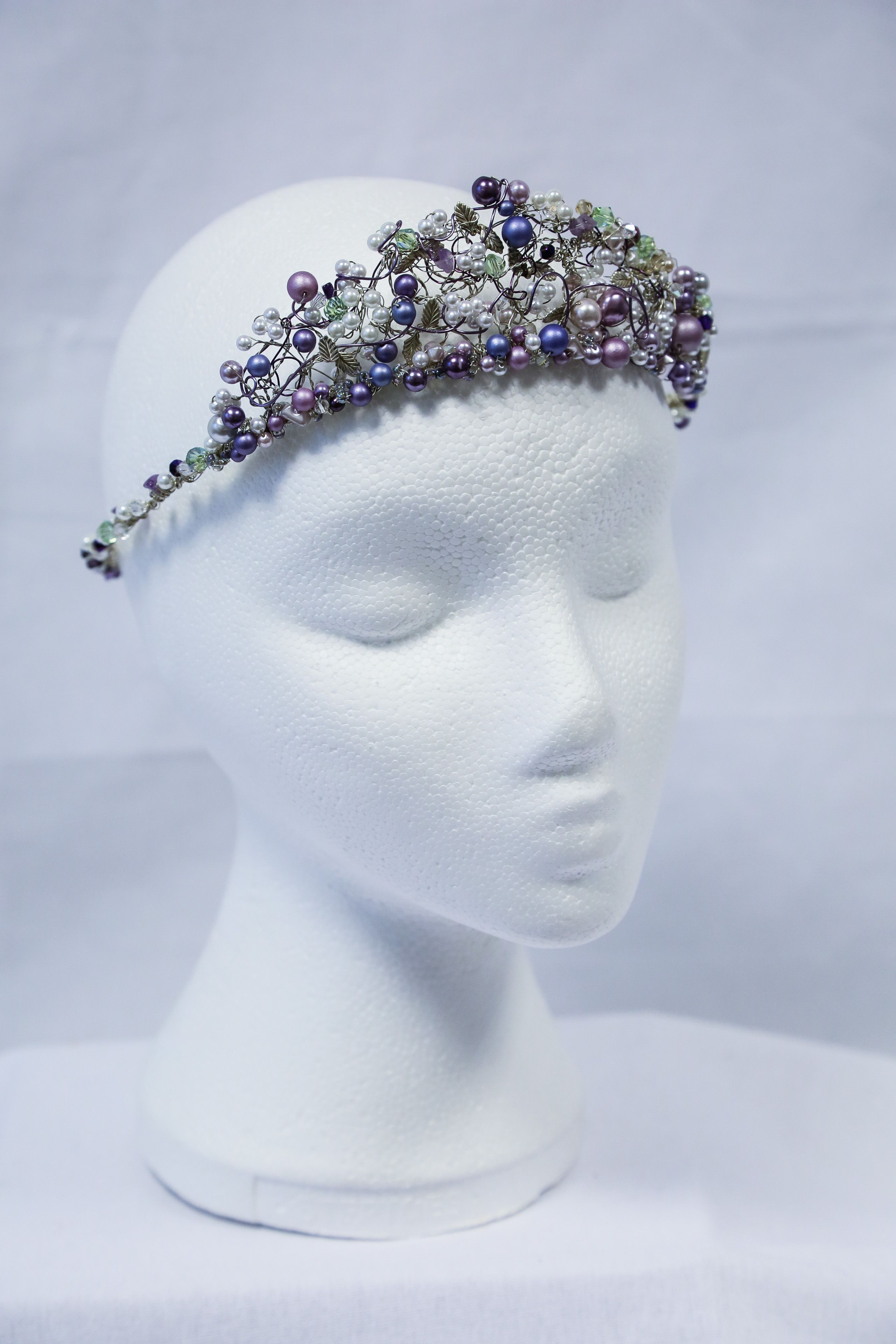 Free-form wire work headdress with bead, crystal and silver leaves ...