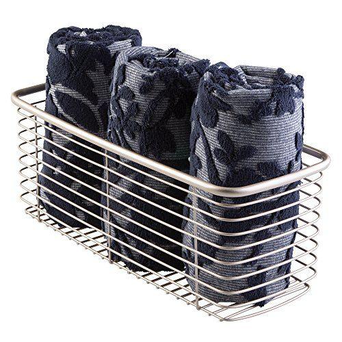 MDesign Wire Storage Basket For Bathroom, Cabinet, Closet