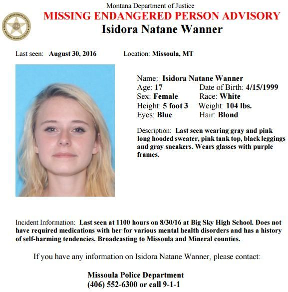 The Montana Department of Justice has issued a Missing-Endangered - missing person flyer template