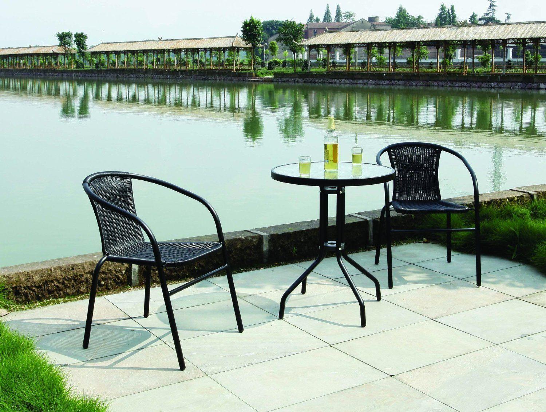 Garden patio all weather black wicker 3 piece bistro set