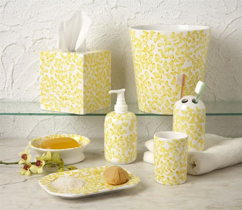 Yellow Bathroom Accessory Set Country French Yellow Bathroom