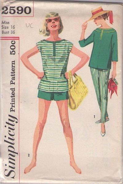 MOMSPatterns Vintage Sewing Patterns - Simplicity 2590 Vintage 50's Sewing Pattern SWEET Rockabilly Pin Up Girl Summer Pool Party Slit Neck Top, Shorts, Tapered Pants Size 16