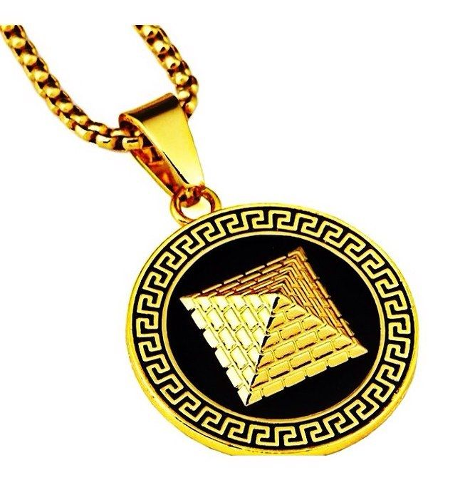 22ab909828a 18k PVD Gold Plated Egyptian Pyramid necklace w  28