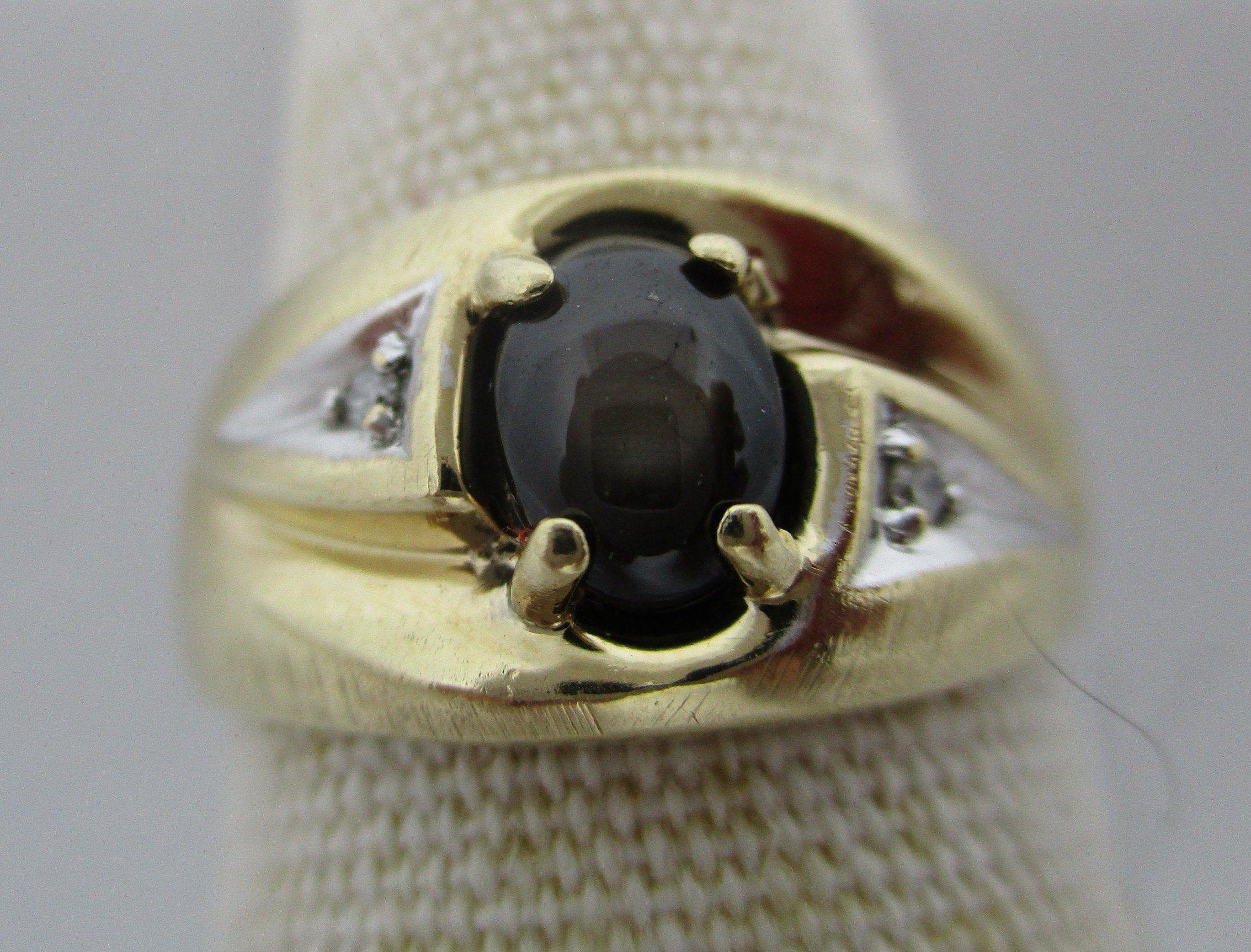 Star Sapphire Diamond 10k Gold Men S Ring 10k White Gold 10k Yellow Gold Diamond Black Star Sapphire Ring Vintage 1970 S Size 9 25 3 5 Grams In 2020 Star Sapphire Ring Sapphire Diamond Star Sapphire