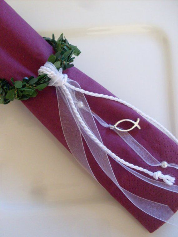Photo of Table decoration napkin rings for baptism/communion