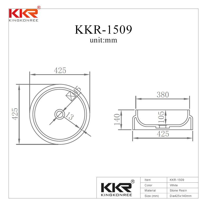 Round Solid Surface Wash Basin Made By High Quality Material Kkr 1509 Wash Basin Solid Surface Basin