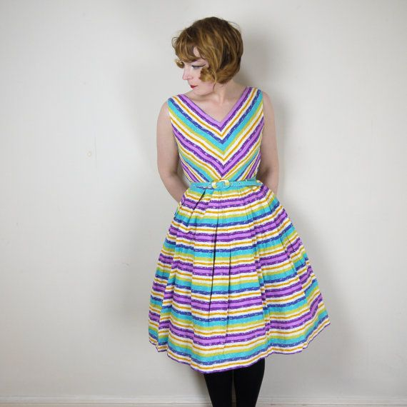 Cutest little colour burst / rainbow stripe late 50s cotton dress in bright blue, orange, purple, lime green and white. V-neck and back and very