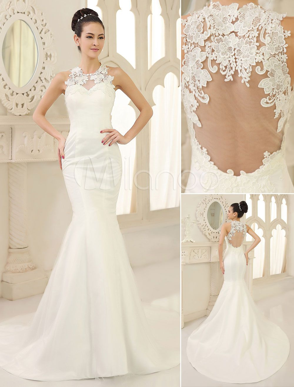 Ivory mermaid backless jewel neck lace sweep satin wedding dress