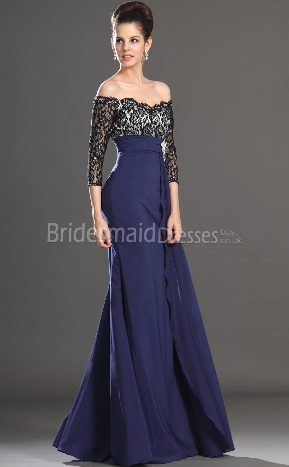 Royal Blue Lace Dresses With Sleeves