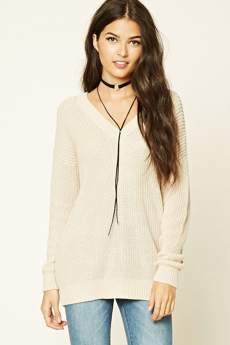 63c8060cdc Forever 21 Contemporary - This contemporary chunky knit sweater features a V-neckline
