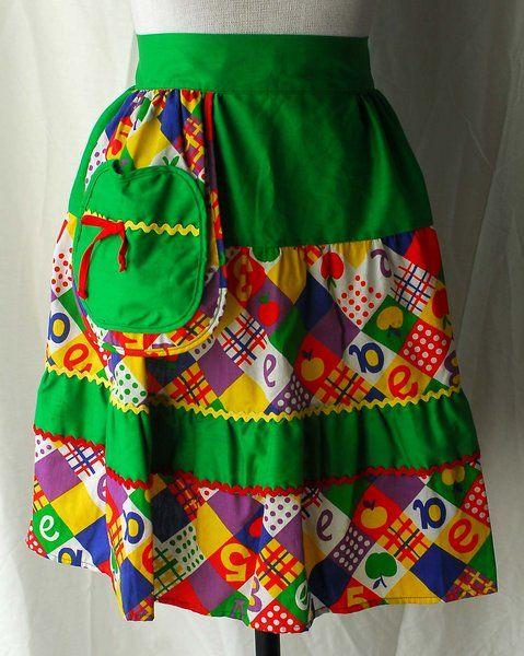 Women's 1970s Green Faux Patchwork Cotton Apron