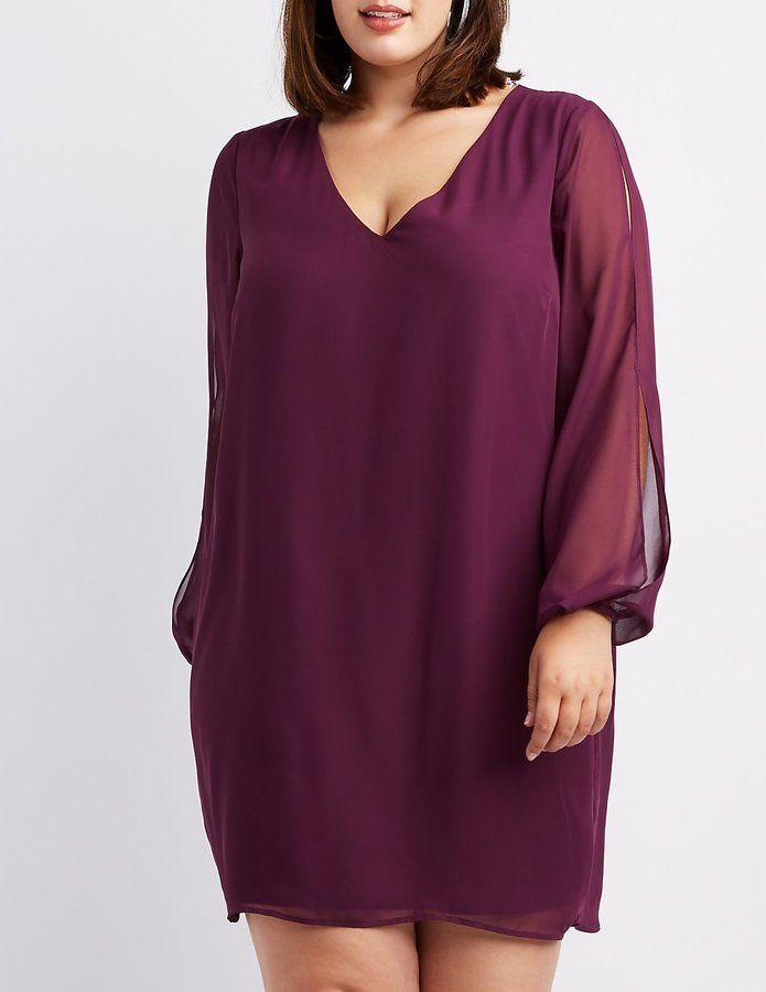 Plus Size Chiffon Split-Sleeve Shift Dress in 2019 | Outfits ...