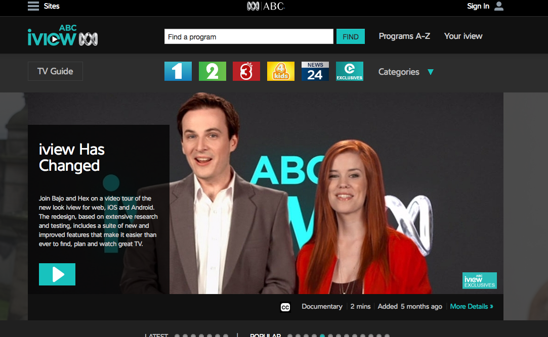 ABC iview is the free internet TV service of the Australian