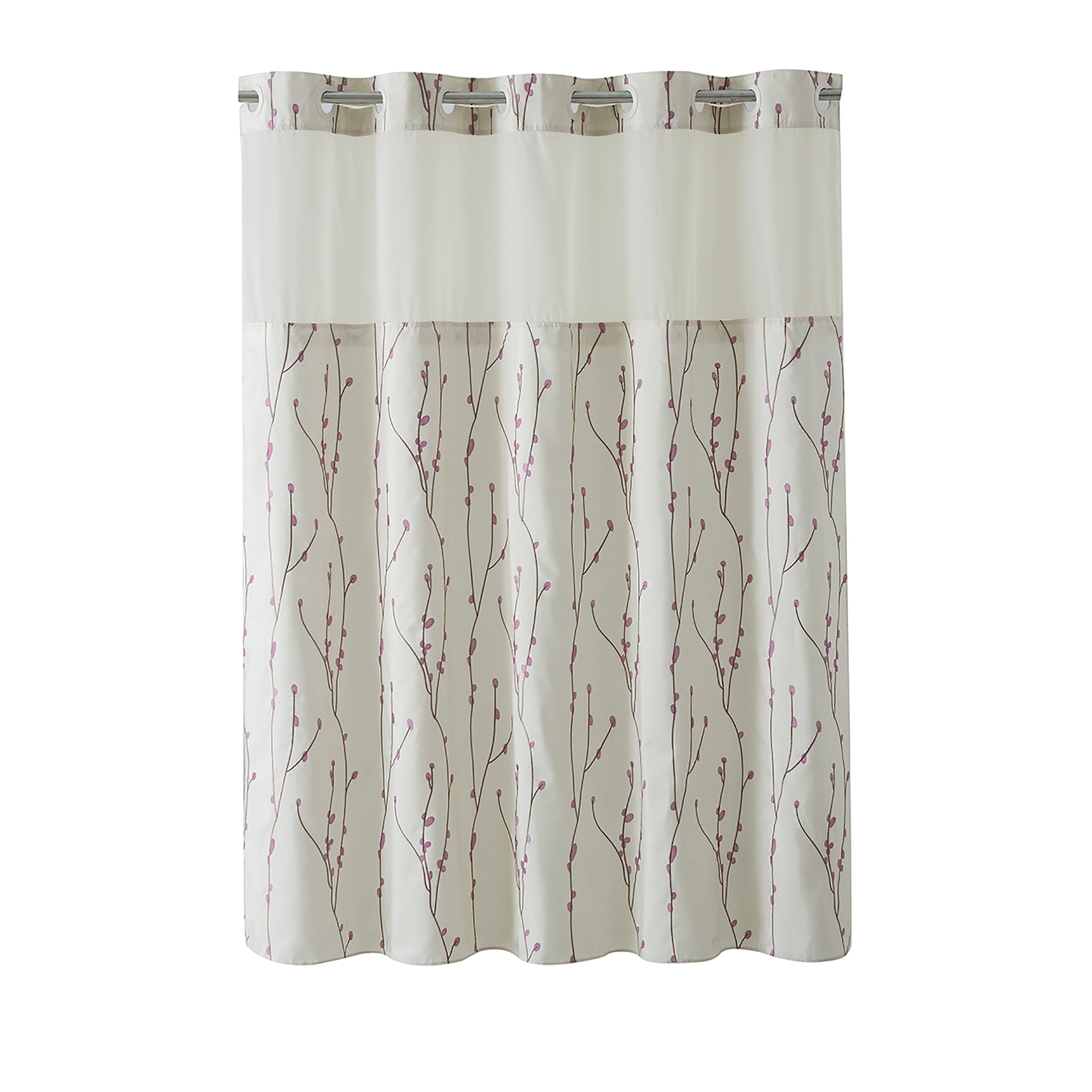 Hookless Shower Curtain Cherry Bloom Pearl Taupe Brown Beige