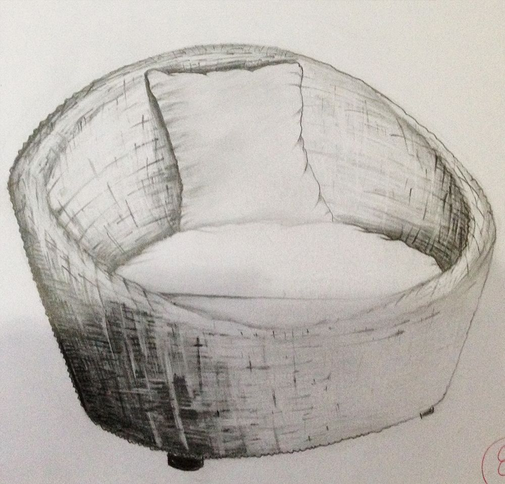 interior drawing, sofa , black white, pencil on papper. 2012