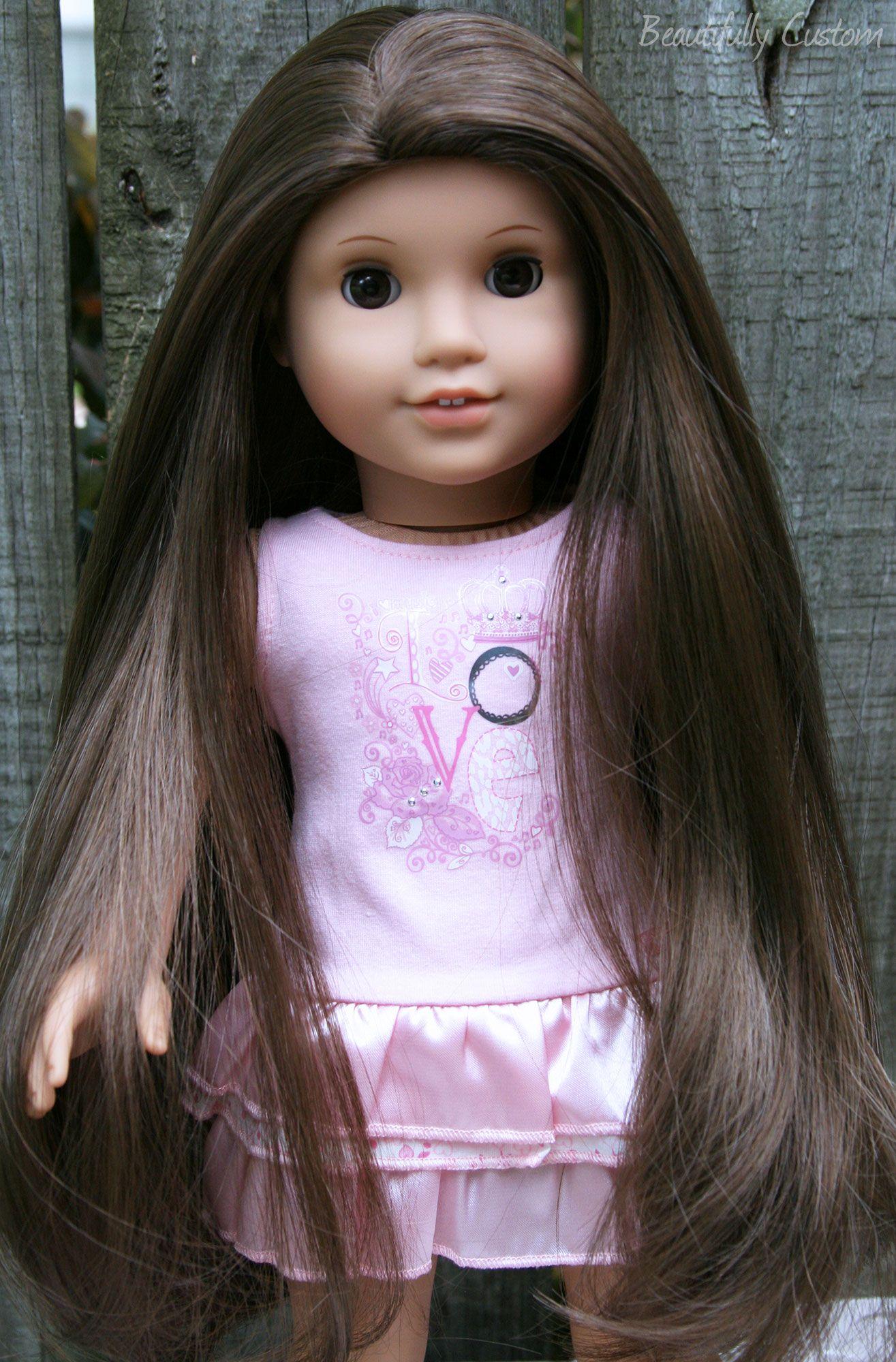 Custom american girl doll brown eyes and long brown hair