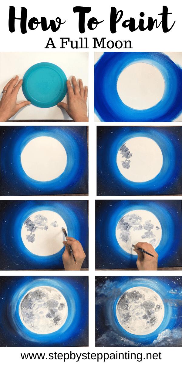 Peinture de lune - Tutoriel de peinture acrylique étape par étape - Avec photos - #acrylique #painting #pictures #tutorial - #new