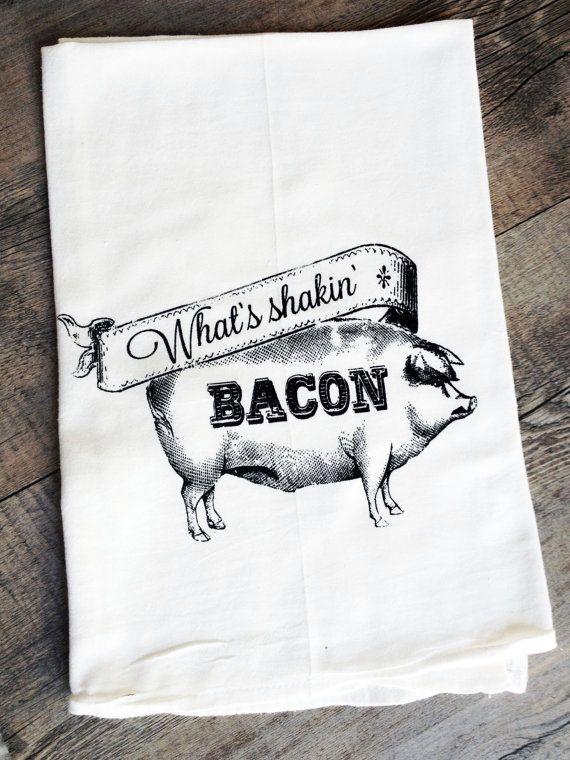 Whatu0027s Shakin Bacon   Farmhouse Pig   Funny Screen Printed Cotton Kitchen  Flour Sack Tea Towel