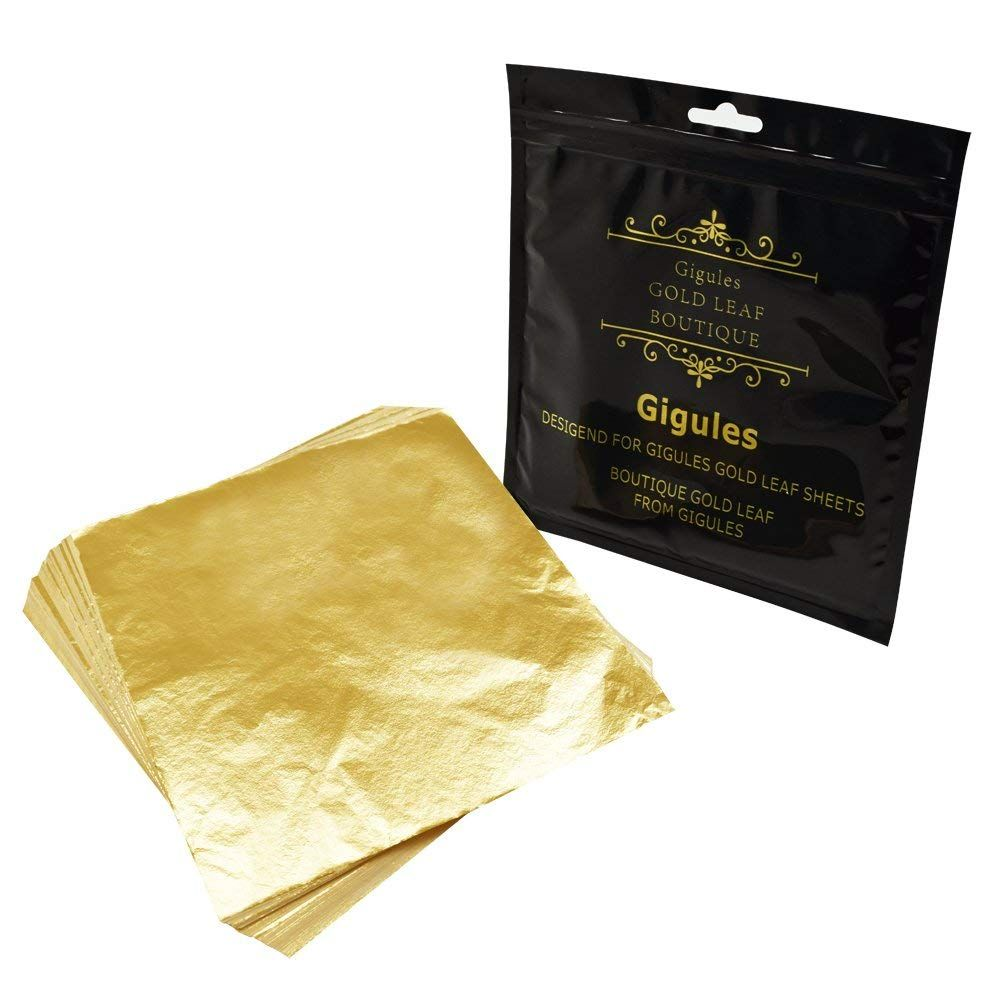 Amazon Com Gigules 100 Sheets Imitation Gold Leaf 5 5 X 5 5 Inches Gold Foil Paper For Arts Painting Gildin Gold Foil Paper Foil Paper Art And Craft Materials