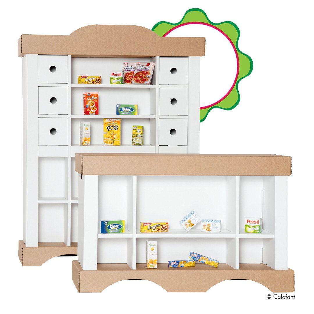 kaufladen für kinder aus karton / pappe das regal 81x31x105, der
