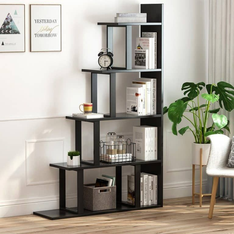 Tribesigns 5-Shelf Modern Simplism Ladder Corner Bookshelf (Black
