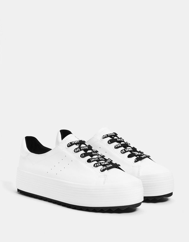 competitive price 110e4 5238f White platform sneakers - Bershka  fashion  product  shoes  zapatos  cool   trend  trendy  young  ss18  new  sport  sporty  zapatillas  deportivas   trainers ...