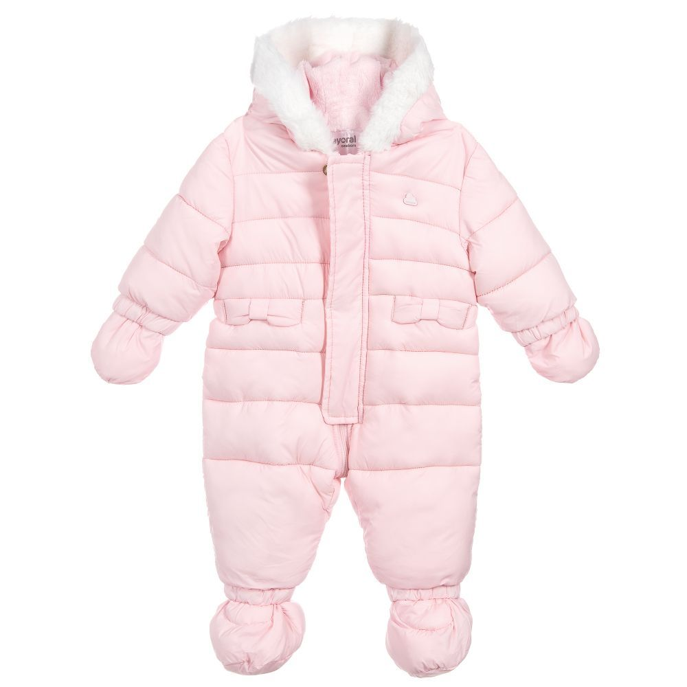 ffb4d0c1f Girls Pink Hooded Snowsuit for Girl by Mayoral Newborn. Discover more  beautiful designer Snowsuits for