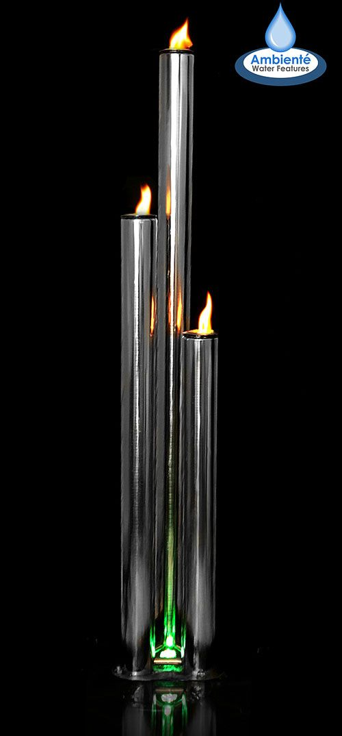 Kohala 3 Polished Tubes with Fire and Water Feature