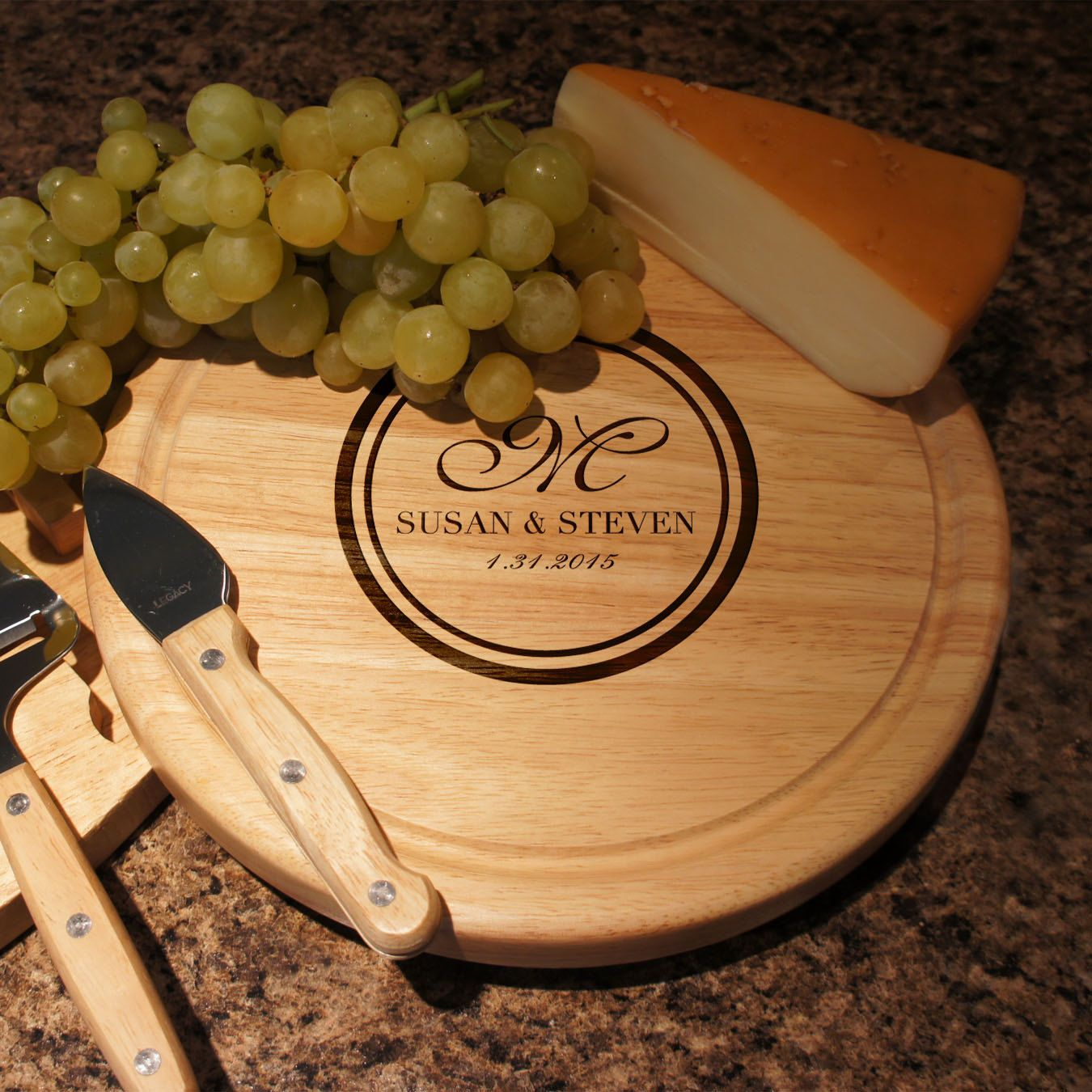 personalized cheese board set with four cheese knives including