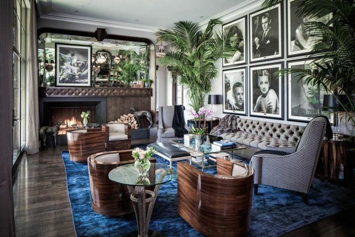 innendesign art deco wohnzimmer blauer teppich schöne texturen - blauer teppich wohnzimmer