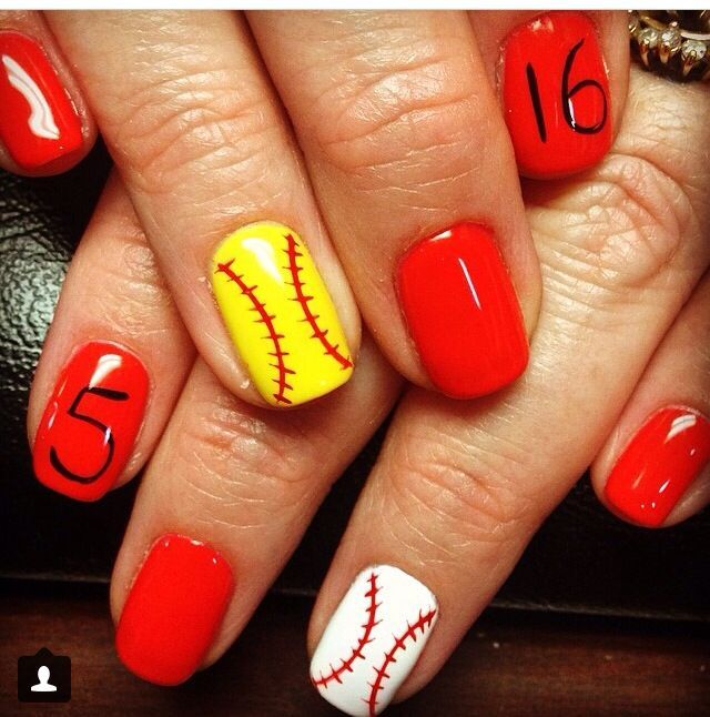 Baseball and softball nails! With the Reds colours and our numbers! - 795f0f39d0725a85880f8859877b4c61.jpg (640×646) Projects Pinterest