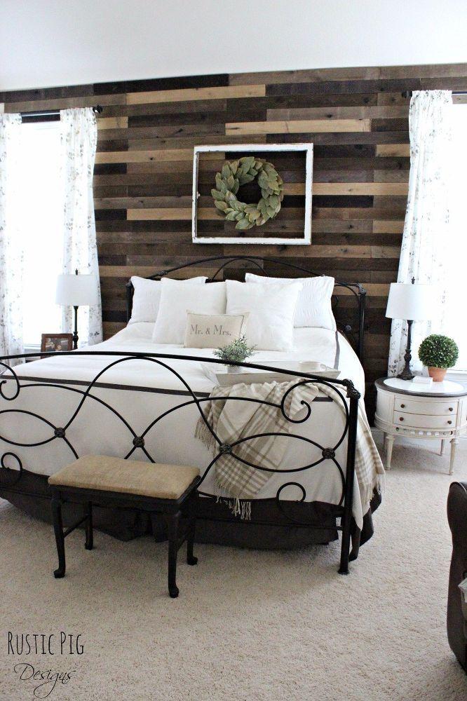 Pallet Board Master Bedroom Wall | Pallet wall bedroom ...