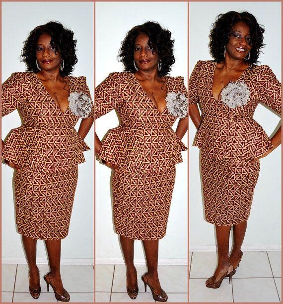 Brown And Beige African 2 Piece Suit, Women Suit, Ankara Suit ...