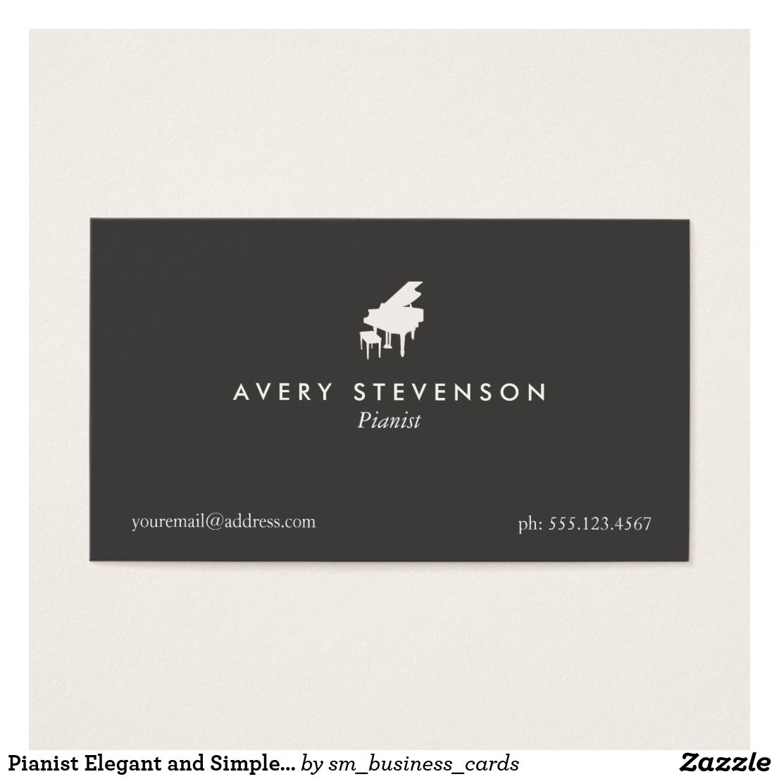 Pianist Elegant and Simple Black Piano Business Card   Pinterest