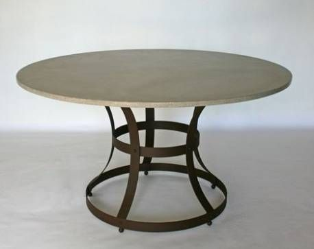 Los Angeles Round Concrete Top Dining Table With Iron Cage Base 1.5u201d Thick  Top With