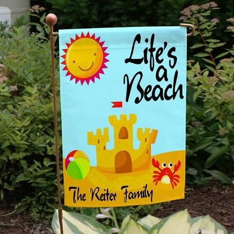 Personalized Lifeu0027s A Beach Garden Flag