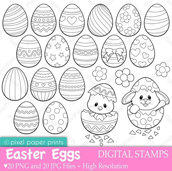 easter eggs digital stamps adorable graphics for your easter