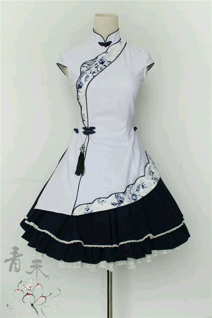 Black and White Cheongsam Lolita Dress | Lolita Fashion etc ...