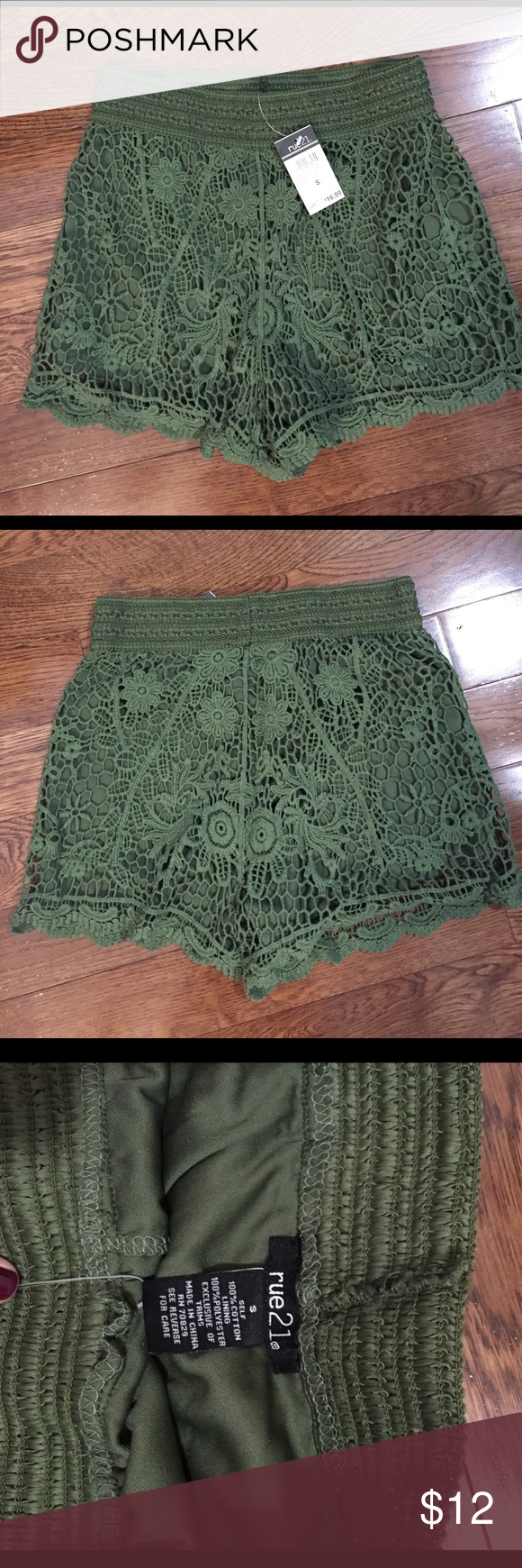Olive green lace shorts Brand new! Super cute paired with a plain tank or tee, stretchy waistband Rue 21 Shorts
